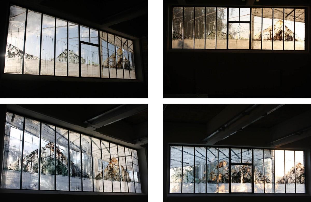 Karen Vermeren: Isla Ometepe, 1.54 x 12 m, acrylic on plastic & chalk on the window, 2013
